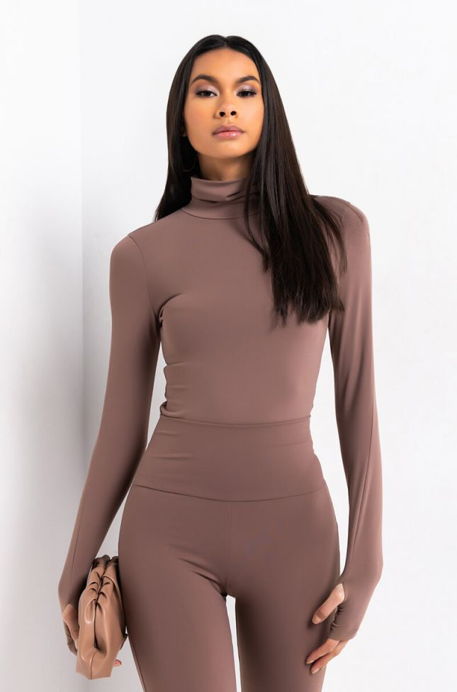 Front View Snatched Basic Mock Neck Long Sleeve Bodysuit in Brown