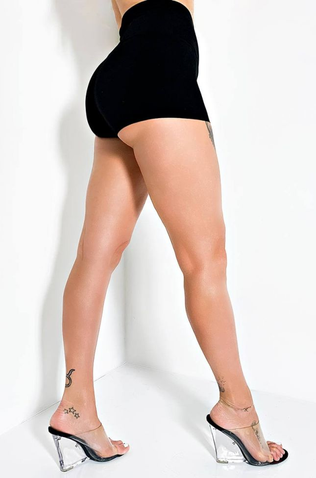 Side View Snatched Booty Shorts in Black