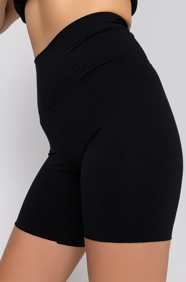 Detail View Snatched High Rise Biker Shorts in Black