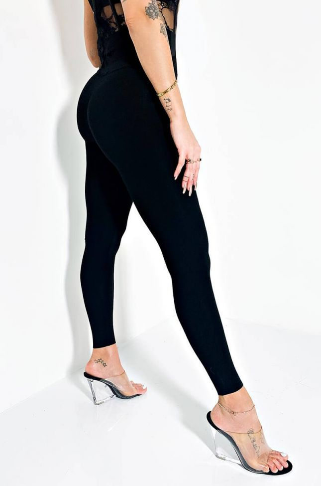 Back View Snatched High Rise Legging in Black