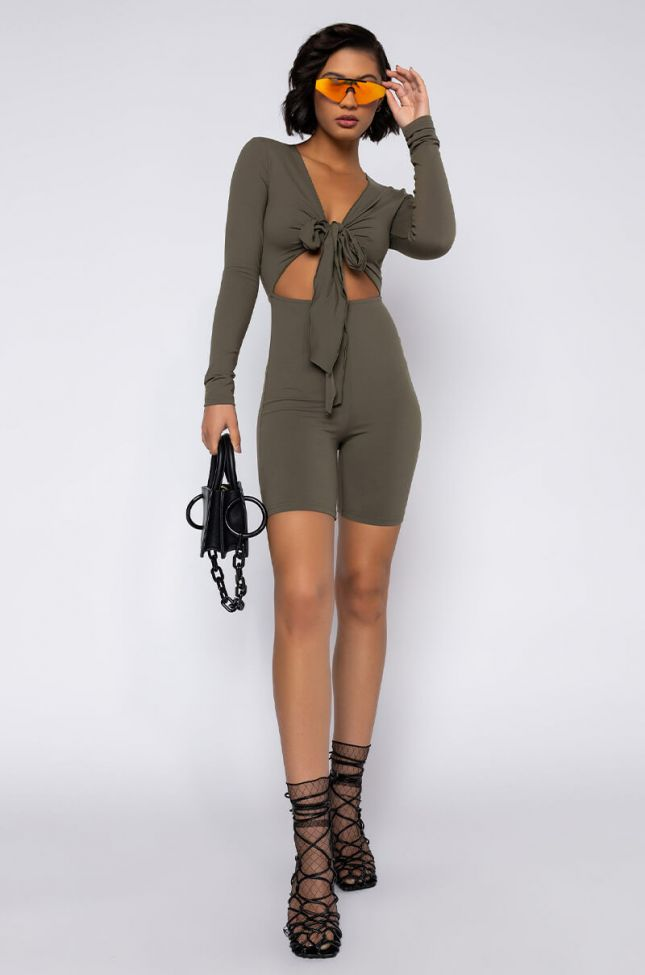 Full View Snatched Tie Front Romper in Olive