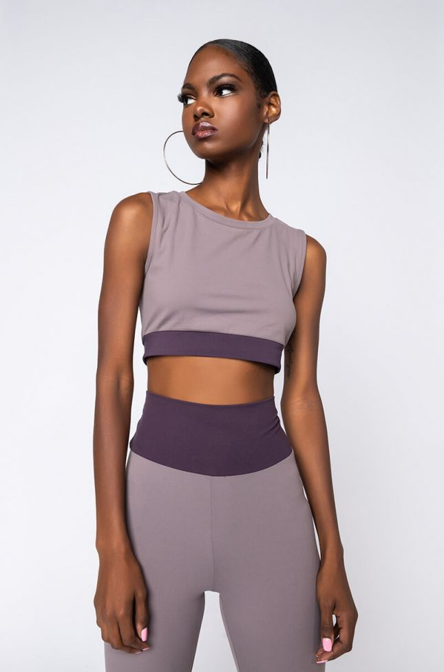 Front View Snatched Version 2.0 Cropped Top in Purple