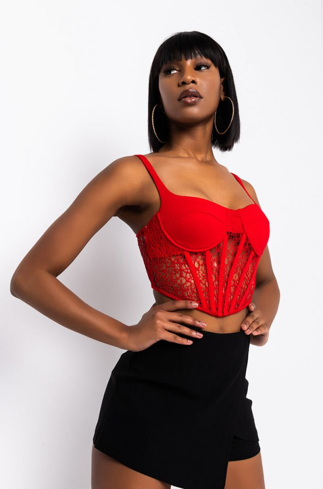 Front View So I Creep Lace Detail Corset Top in Red