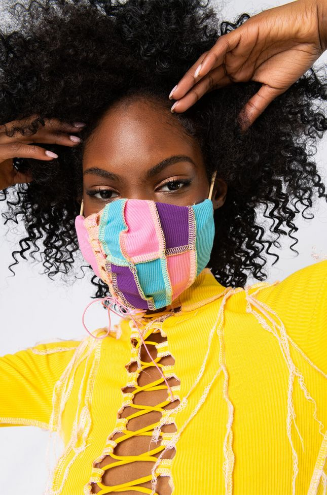 Front View So Into This Fashion Face Cover in Pink Multi