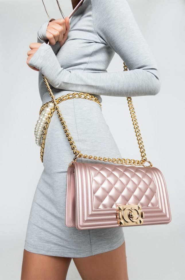 Front View So Ladylike Small Quilted Rubber Purse in Pink