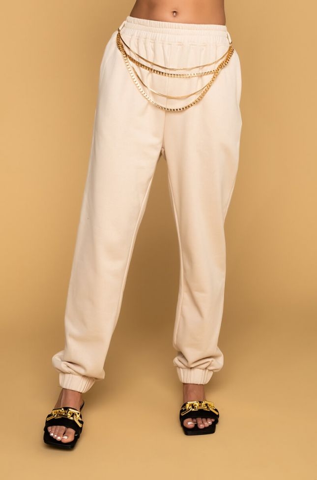 Front View So Proud Of You Chain Detail Joggers in Beige