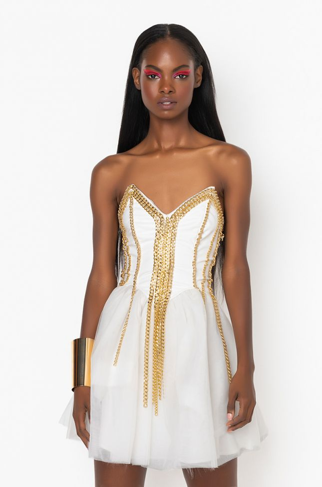 Front View So Rad Corset Dress With Chains in White