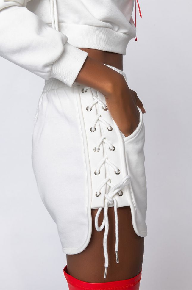 Detail View So Real Lace Up Detail Short in White
