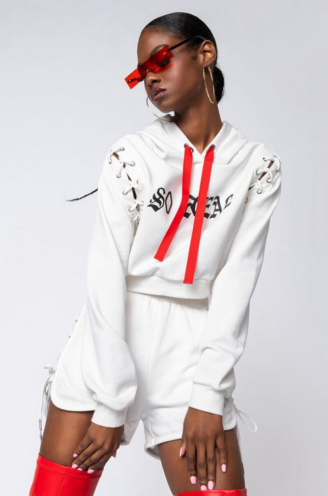 Front View So Real Lace Up Detail Sweatshirt in White