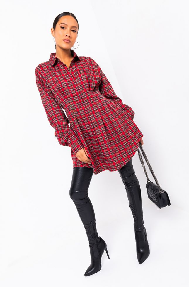 Full View Social Icon Long Sleeve Cinched Waist Mini Dress in Red