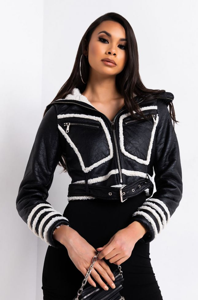 Front View Somber Pleather Sherpa Crop Bomber Jacket in Black