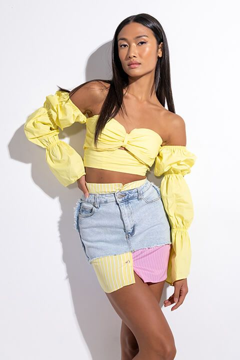 Front View Some Light Off The Shoulder Crop Blouse