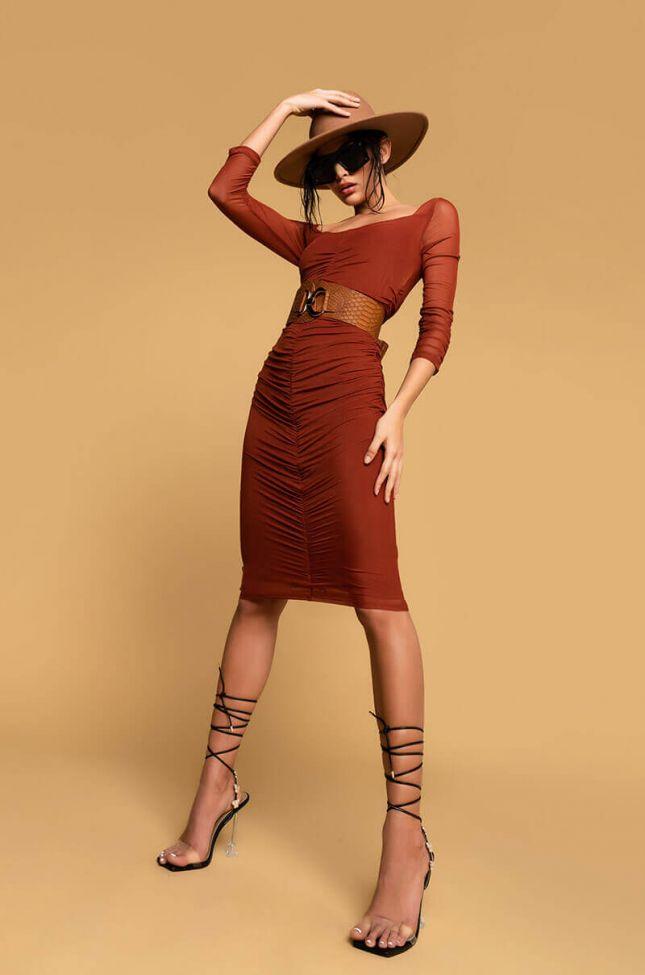 Some Like It Hot Mini Dress in Rust