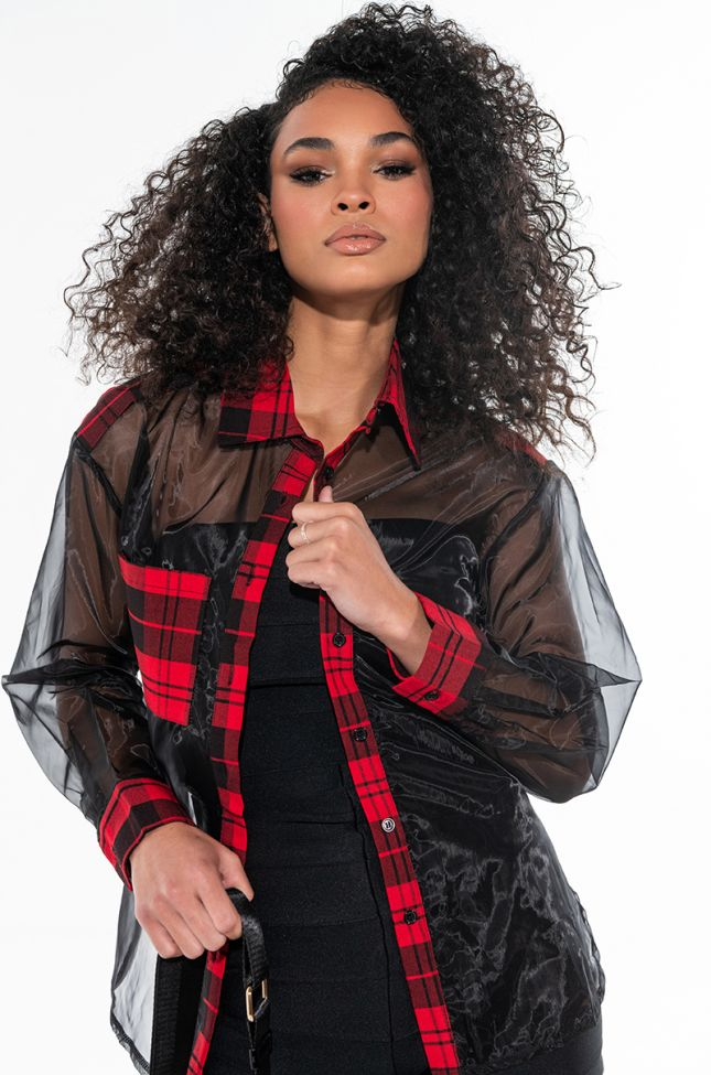 SOME TYPE OF WAY SHEER BUTTON DOWN BLOUSE