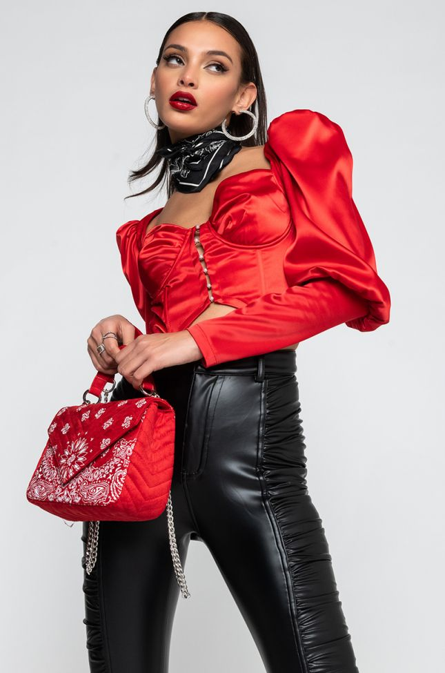 Front View Someone You Loved Pearl Button Corset Top in Red