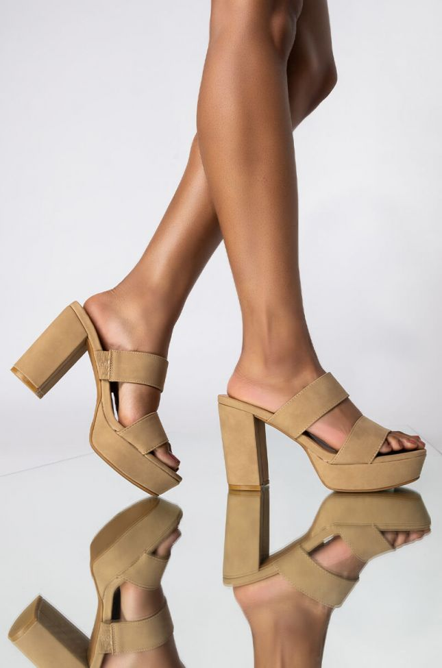 Front View Something I Need Chunky Sandal in Nude