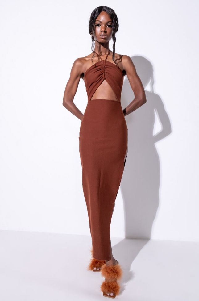 Front View Something Sweet Maxi Dress With High Slit