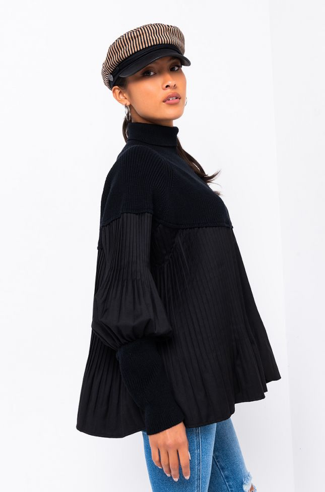 SOPHISTICATED AF MICRO PLEATED TURTLENECK TUNIC
