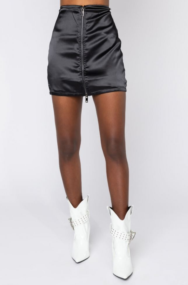 Front View Soul On Fire Satin Mini Skirt in Black
