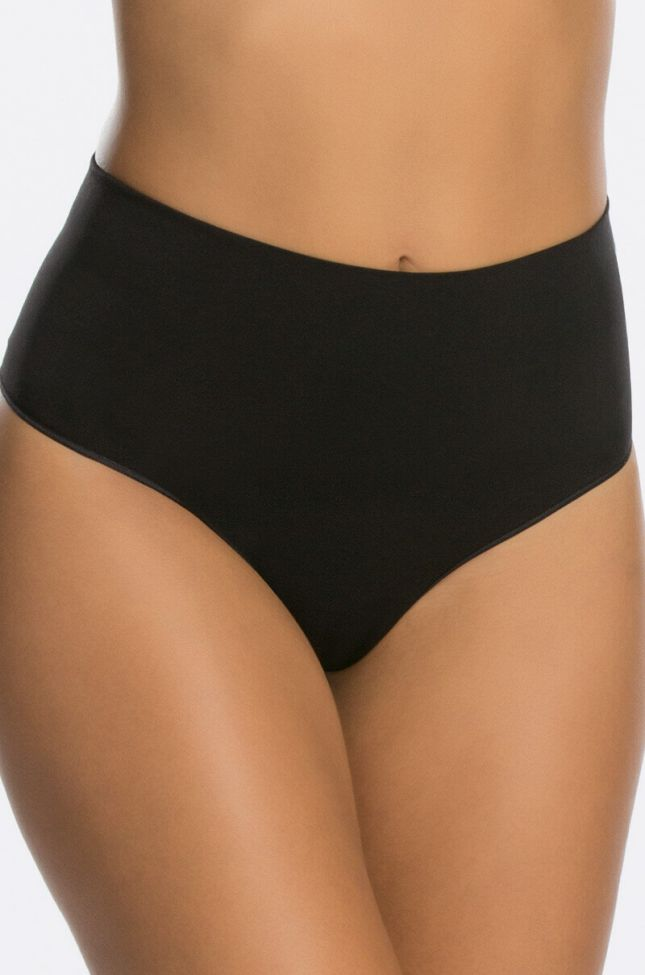 Front View Spanx Everyday Shaping Panties Thong in Black