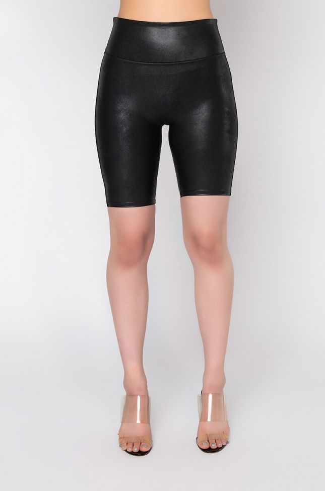 Front View Spanx Faux Leather Bike Short in Black