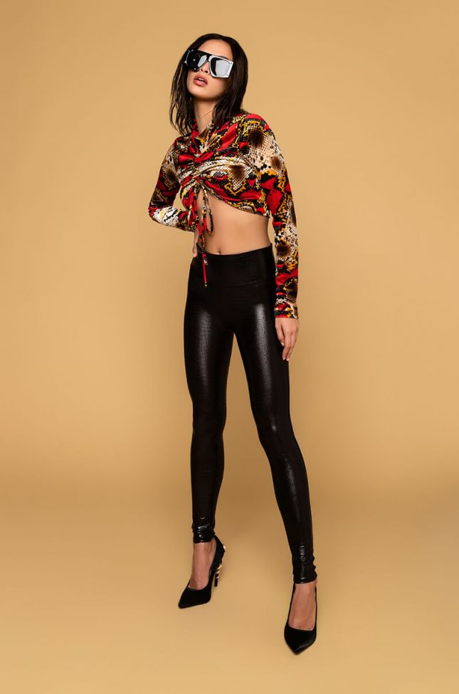 Detail View Spanx Faux Leather Croc Shine Leggings in Brown
