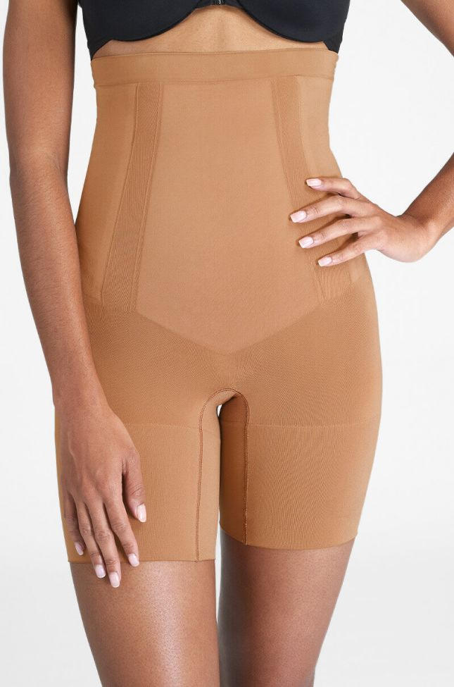 Front View Spanx Oncore High-waisted Mid-thigh Short in Brown