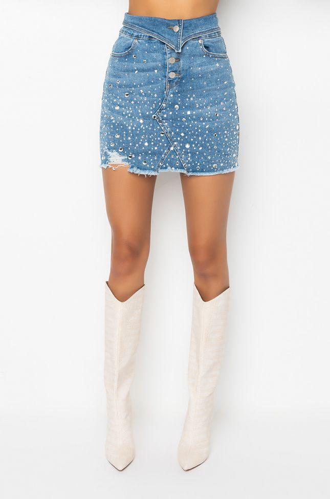 Front View Sparkly High Waist Denim Mini Skirt