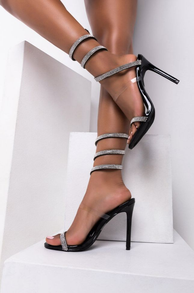 Front View Sparks Fly Stiletto Sandal in Black