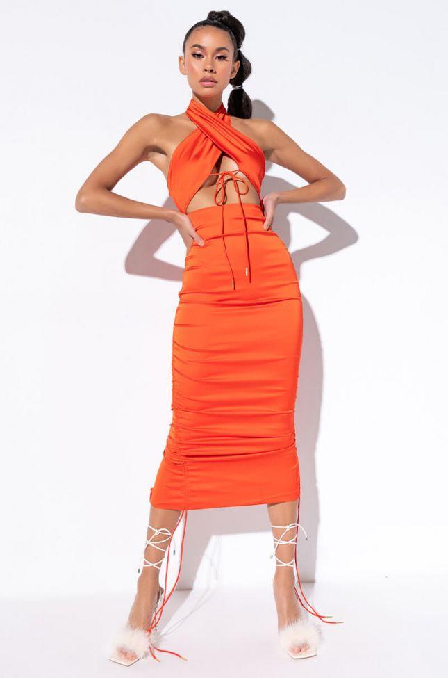 Front View Speechless Wrap Top Midi Dress in Orange