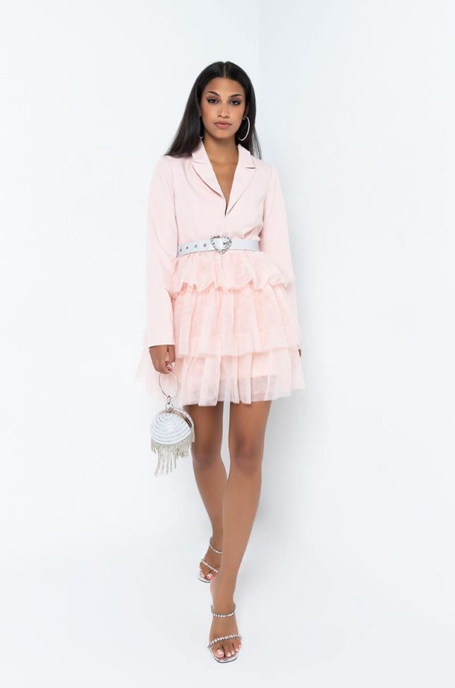 Full View Spin Me Around Tulle Mini Dress in Light Pink