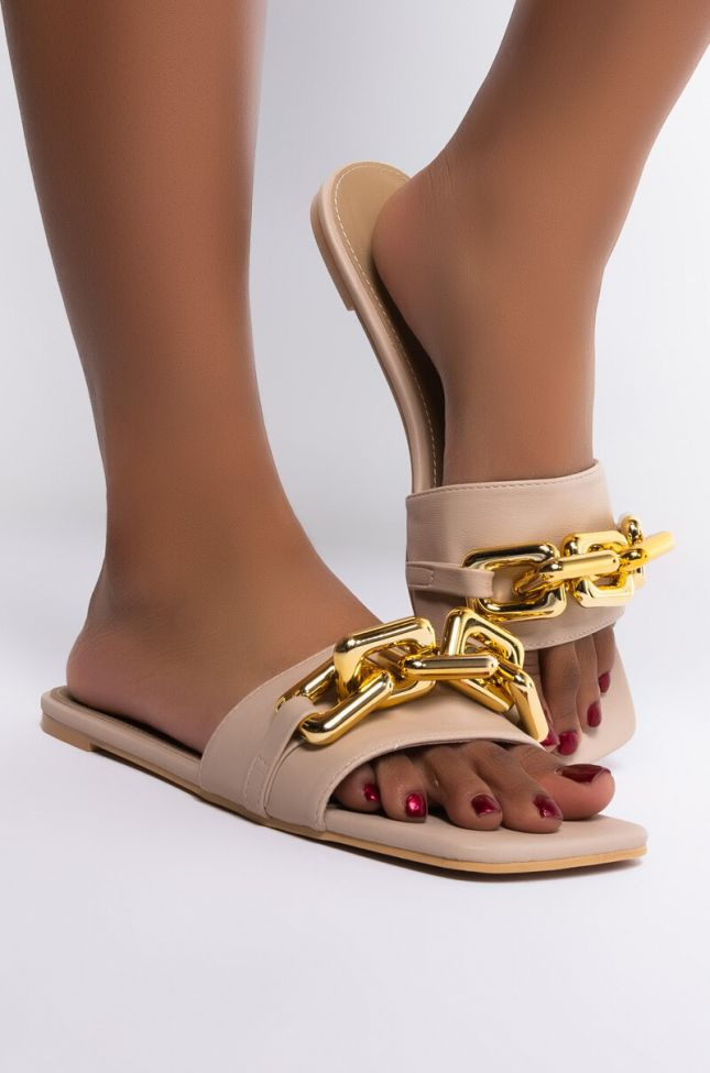 Side View Square Biz Chain Flat Sandal in Cream
