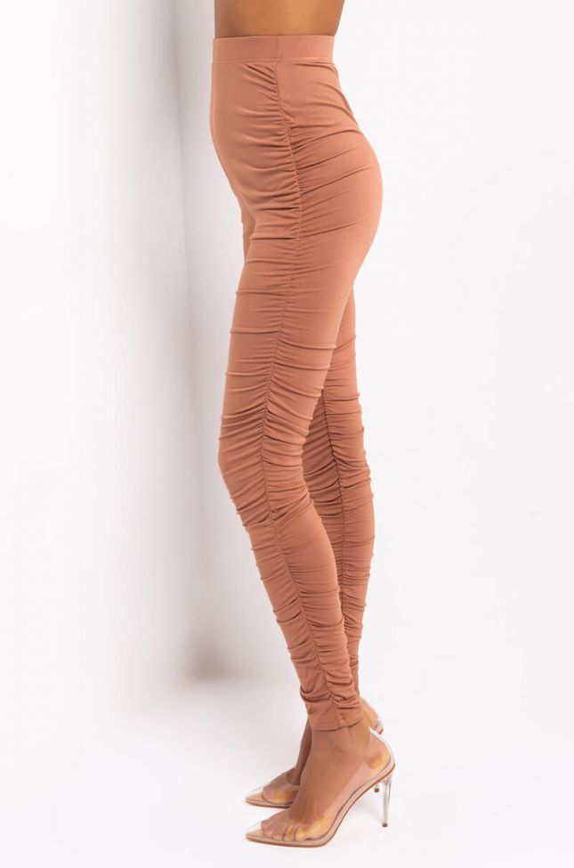 Side View Stack It Up Again Stacked Leggings in Light Brown