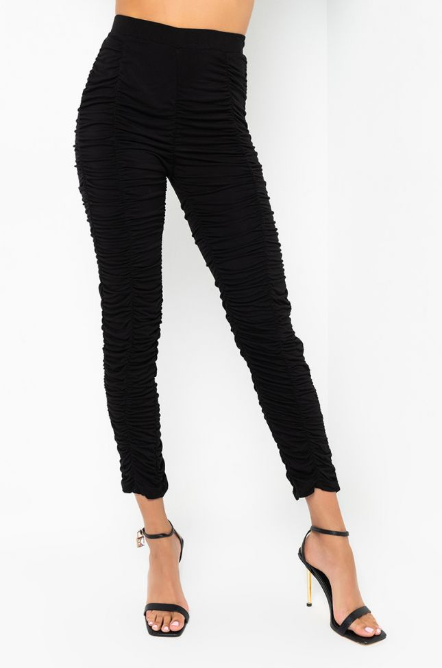 Front View Stack It Up Stacked Leggings in Black