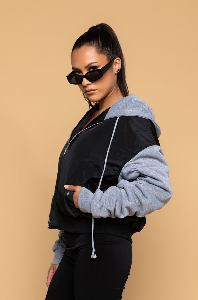 Side View Stacked Arm Quilted Lined Bomber in Black Grey