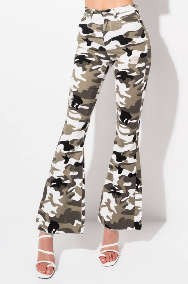 Front View Stacks On Stacks Camo Flare Jeans in Black Grey