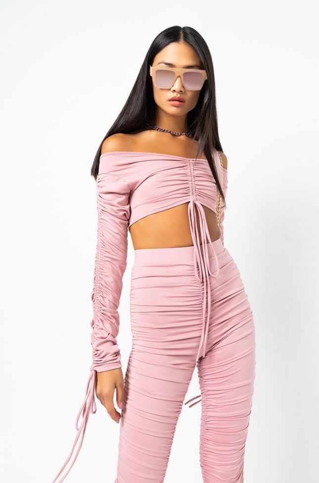 Front View Stacks On Stacks Long Sleeve Crop Top in Mauve