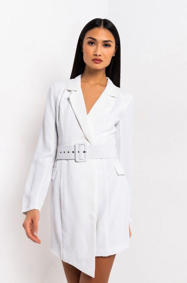 Front View Stargazed Open Back Blazer Dress in White