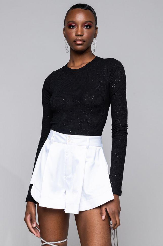 Side View Starry Night Long Sleeve Bodysuit in Black