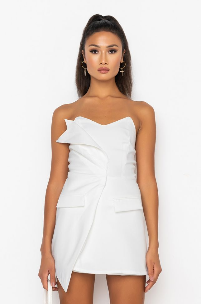 Front View Stay In Your Lane Tube Romper in White