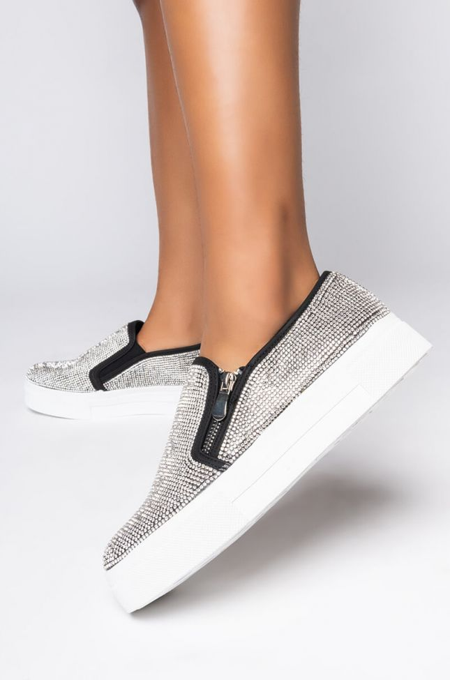 Front View Stay Local Rhinestone Sneaker in Black