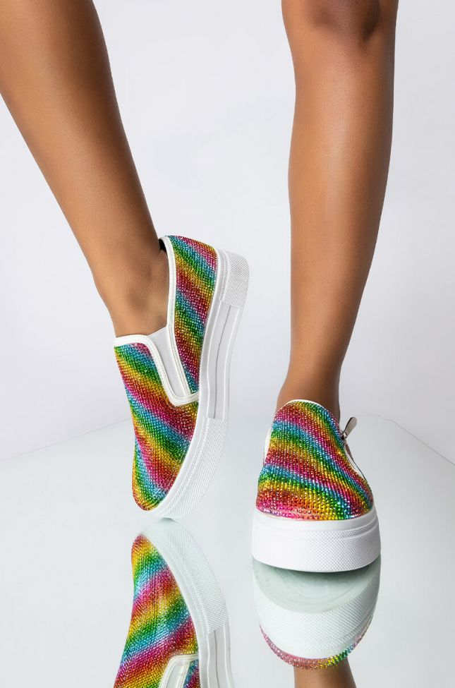 Front View Stay Local Rhinestone Sneaker in Rainbow