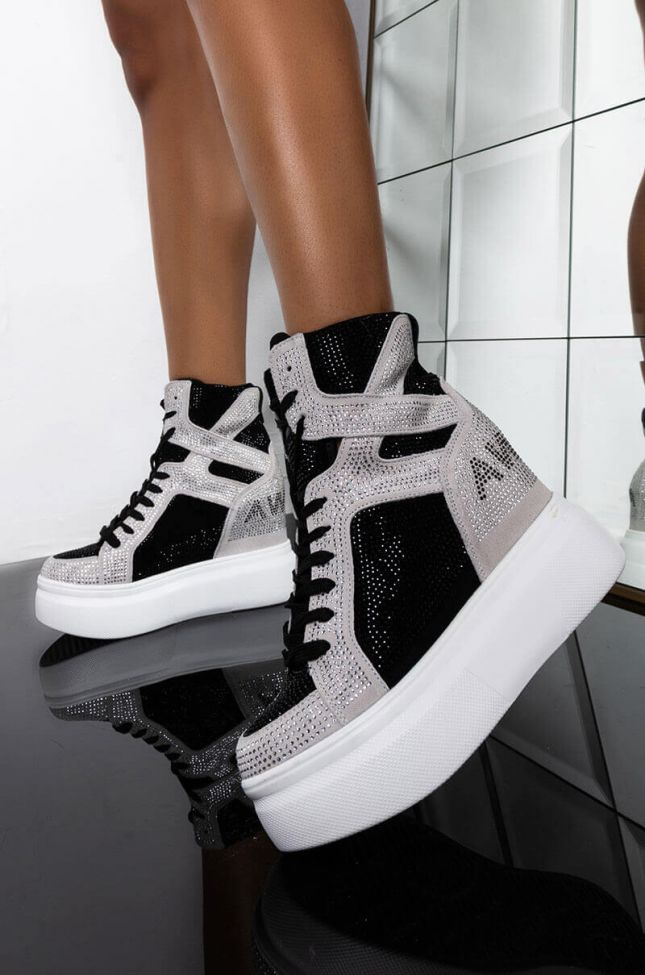 Front View Stay The Night Wedge Sneaker in Ice