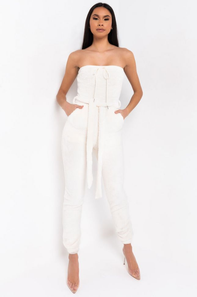 Front View Stay Warm With Me Tube Jumpsuit in White