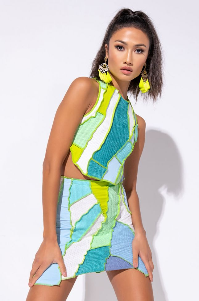Front View Steal The Show Contrast Trim Top in Blue Multi