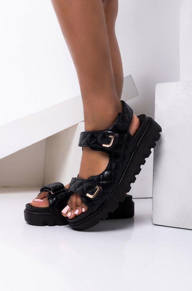 Front View Step Aside Flatform Sandal in Black