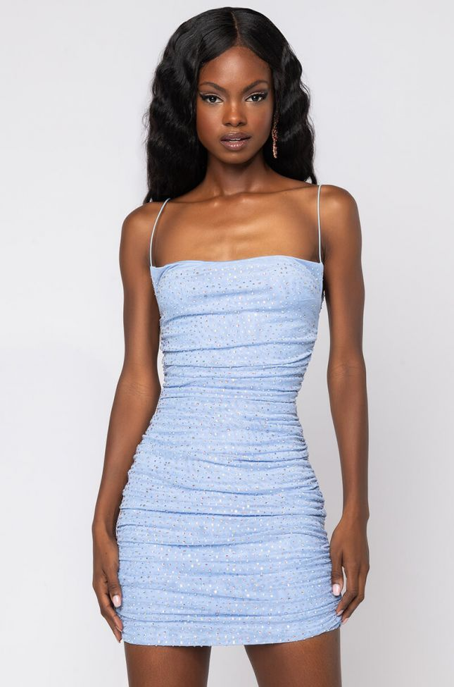 Side View Steppin Out Like Sparkle Dress in Light Blue