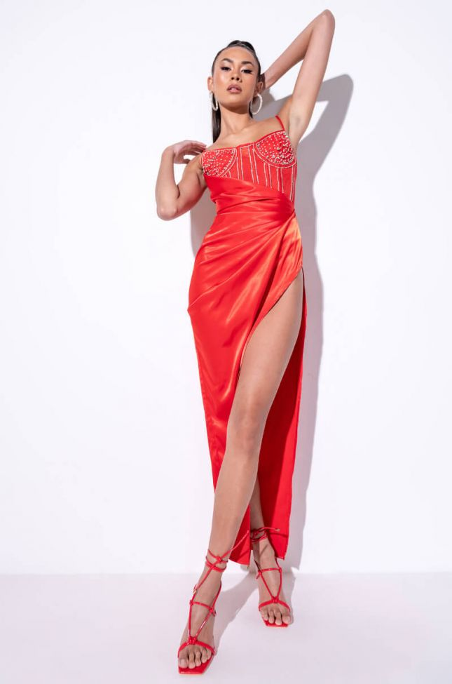 Front View Stepping In Maxi Satin Dress With Rhinestone Corset