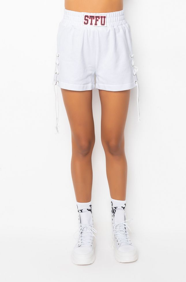 Front View Stfu Lace Up Shorts