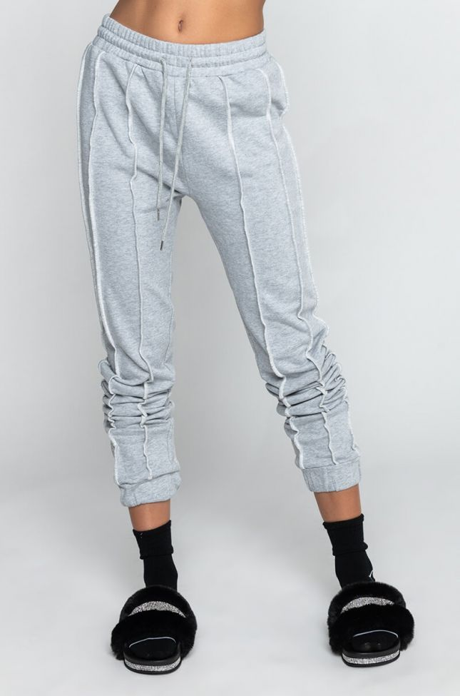 Front View Stitches High Waist Jogger in Heather Grey